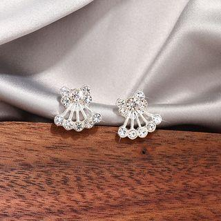 Rhinestone Stud Earring 1 Pair - White - One Size