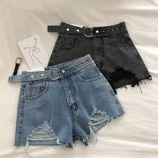 Distressed Lace-up Frayed High-waist Denim Shorts