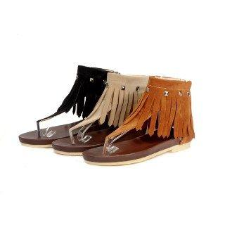 Faux-suede Fringed Flat Sandals