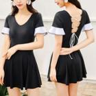 Cross Back Short-sleeve Swim Dress