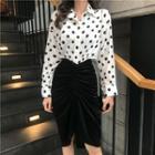 Dotted Shirt / Velvet Fitted Skirt
