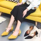 Pearl Chained Pointed Velvet Pumps