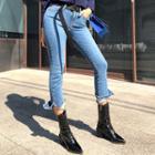 Washed Slit-hem Jeans