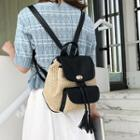 Straw Faux Leather Backpack