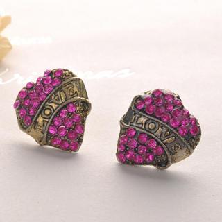Love Heart Earrings - Fuchsia Fuchsia - One Size