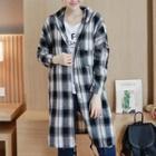 Hooded Plaid Long Shirt