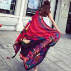 Patterned Tassel Shawl Red - One Size