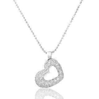 18k White Gold & Diamonds Heart-shape Pendant