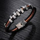 Stainless Steel Faux Leather Layered Bracelet 843 - Bracelet - One Size