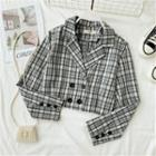 Double-breasted Plaid Cropped Blazer