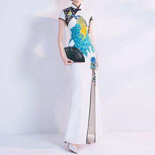 Peacock Embroidered Cap-sleeve Slit Maxi Qipao