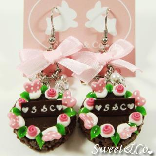 S&c Sweet Ribbon Brown Rose Cake Earrings