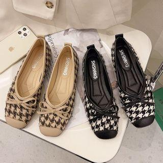 Houndstooth Bow Square Toe Flats