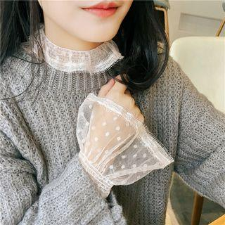 Mock Turtleneck Bell-sleeve Lace Top