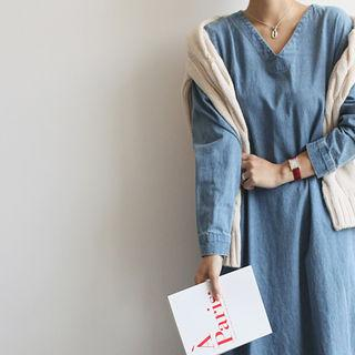 V-neck Denim Long Dress