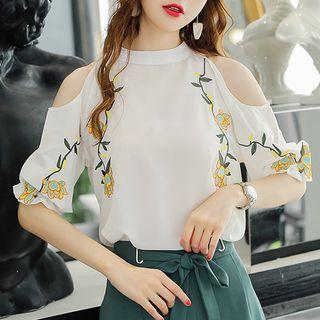 Cold Shoulder Embroidered 3/4-sleeve Top