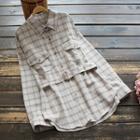 Long-sleeve Plaid Shirt Light Khaki - One Size