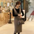Zip-back Midi Pinafore Dress