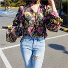 Floral Patterned Banded-cuff Top With Scarf