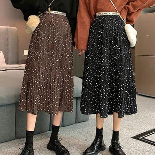 Midi Dotted Pleated Skirt