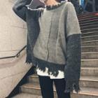 Distressed Panel Sweater