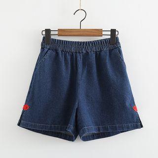 Fish Embroidered Wide Leg Denim Shorts