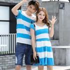 Couple Matching Striped Short Sleeve T-shirt / Short Sleeve A-line Dress