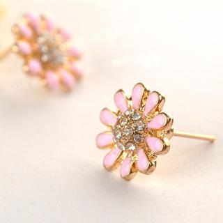 Flower Earrings  Pink - One Size
