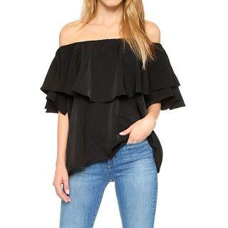 Off-shoulder Ruffled Top Black - One Size