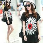 Flower Print Chiffon T-shirt