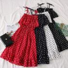 Sleeveless Ruffled Dotted A-line Dress