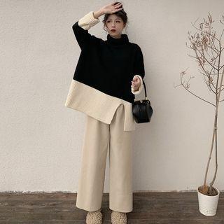 Set: Turtleneck Two-tone Ribbed Sweater + Knit Wide Leg Pants