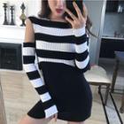 Striped Asymmetrical Cropped Knit Top