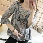 Set: Floral Print Elbow-sleeve Blouse + Skinny Cropped Pants