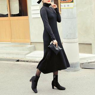 Sleeveless Ribbed Midi Dress Black - One Size