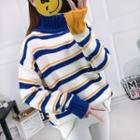 Long-sleeve Color Block Turtleneck Knit Sweater