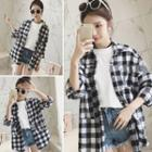 Long-sleeve Plaid Shirt Black - One Size