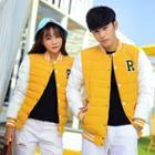 Couple Color-block Padding Baseball Jacket