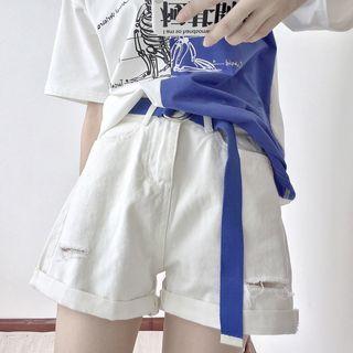 Distressed Denim Shorts / Belt
