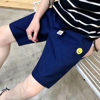 Smiley Face Embroidered Drawstring Shorts