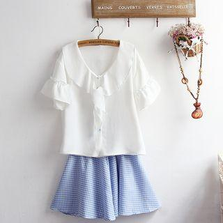 Short-sleeve Blouse / Plaid A-line Skirt