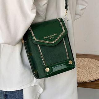Patent Panel Faux Leather Crossbody Bag