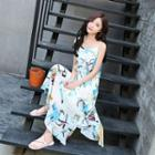 Printed Chiffon Maxi Sundress