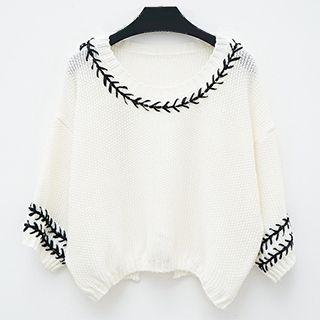 Patterned Trim 3/4-sleeve Knit Top