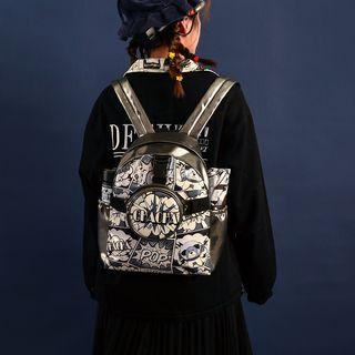 Cartoon Print Faux Leather Backpack Black - One Size
