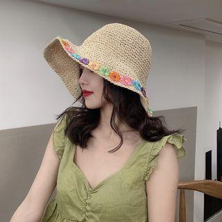 Flower Woven Bucket Hat