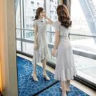 Short-sleeve Ruffled Polka Dot Chiffon A-line Midi Dress