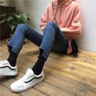 Cropped Asymmetric Hem Jeans