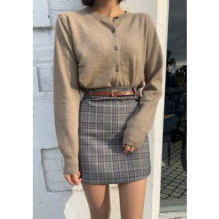 Plaid A-line Miniskirt & Belt