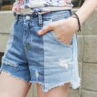 Distressed Two-tone Denim Shorts